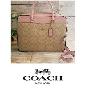 Coach Laptop Bag - Light Khaki/Carnation
